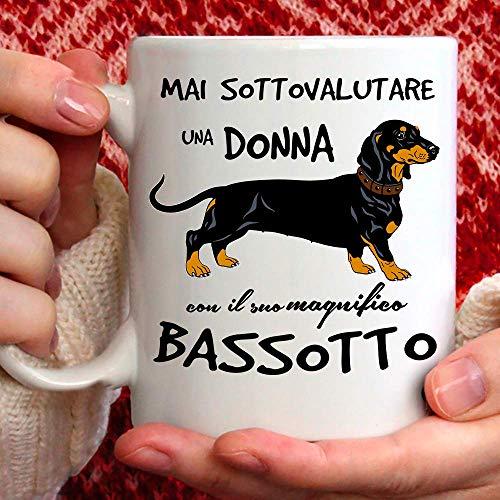 Taza de perro salchicha de cerámica – 350 ml para ti o como regalo para mujer, amiga, mamá, tía, prima, abuela, cumpleaños, aniversario