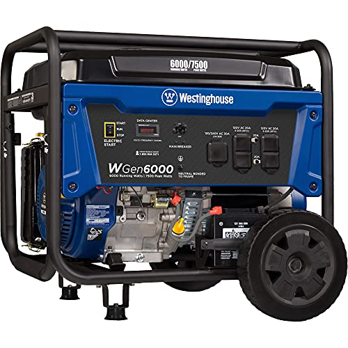 Westinghouse Outdoor Power Equipment WGen6000 Portable Generator 6000 Rated & 7500 Peak Watts, Gas Powered, Electric Start, Transfer Switch Ready, CARB Compliant
