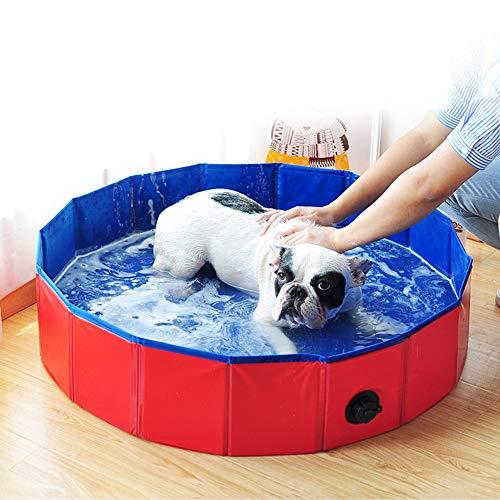 Blusea Piscina Perros y Gatos, Piscina Bañera Plegable PVC Antideslizante y Resistente al Desgaste, Drenaje Lateral en Espiral, Regalo, Adecuado para Interior Exterior