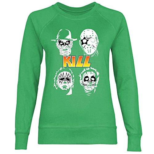wowshirt Damen Sweatshirt Halloween Horror Film Jason Michael Myers Serienmörder, Größe:XXL, Farbe:Kelly Green