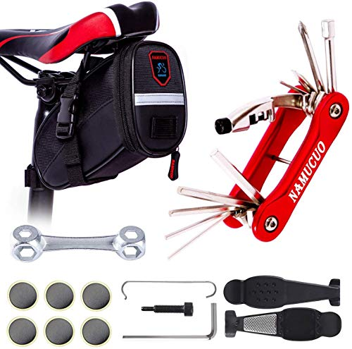 COZYROOMY Kit di Attrezzi per Riparazione Bici per Borsa da Sella - Set di Attrezzi per Biciclette con Strumento Multifunzione per Bici e Strumento per Catena, Strumento per Pneumatici (Rosso)