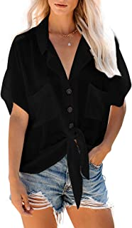 Abninigee Womens Casual Loose Short Sleeve V Neck Button Down Tie Knot Collared Blouse Boyfriend T-Shirt Tops with Pockets