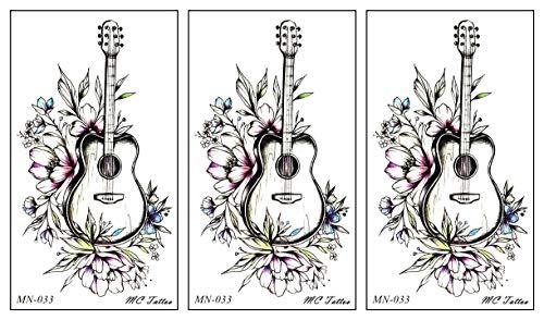 PARITA Small Tattoos Flower Guitar Cartoon Tattoo Waterproof Temporary Sticker Water Transfer Body Art Fake Tatoo for Men Women (Pack 3 PCS.) (08)