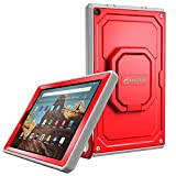Fintie Case for All-New Amazon Fire HD 10 (7th and 9th Generations, 2017 and 2019 Releases) - [Tuatara Magic Ring] 360 Rotating Multi-Functional Grip Carry Cover w/Built-in Screen Protector, Red