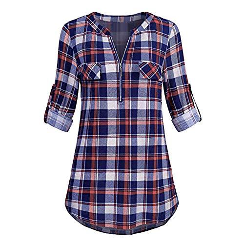 SALUCIA Damen Karierte Oversize Stehkragen Langarm Lang Bluse Shirt mit Reißverschluß Casual Karo Longbluse Hemd Tunika Oberteile Top mit Taschen