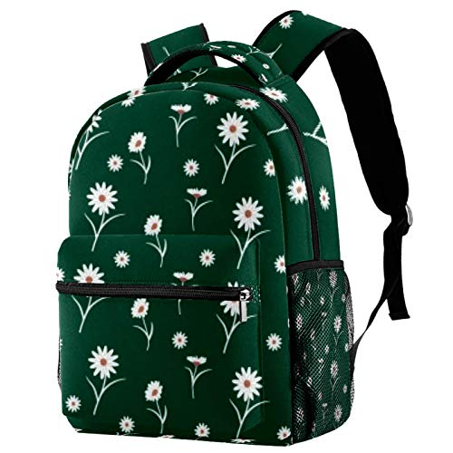 Slim White Flowers Travel Laptop Backpack, Casual Durable Backpack Daypacks for Men Women for Work Office College Students Business Travel Schoolbag Bookbag