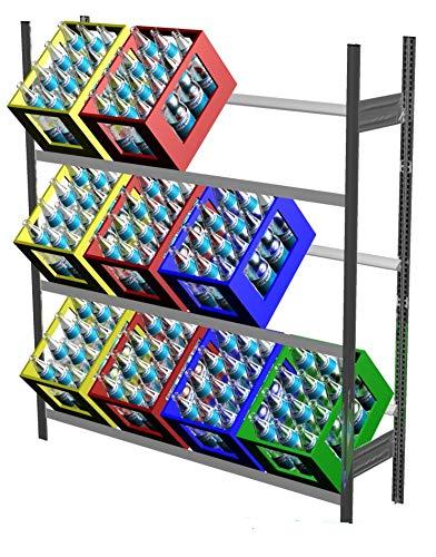 Getränkeregal mit 3 Ebenen für 12 Getränkekisten, verzinkt