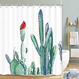 Cardinal Sitting on a Cactus Fabric Shower Curtain