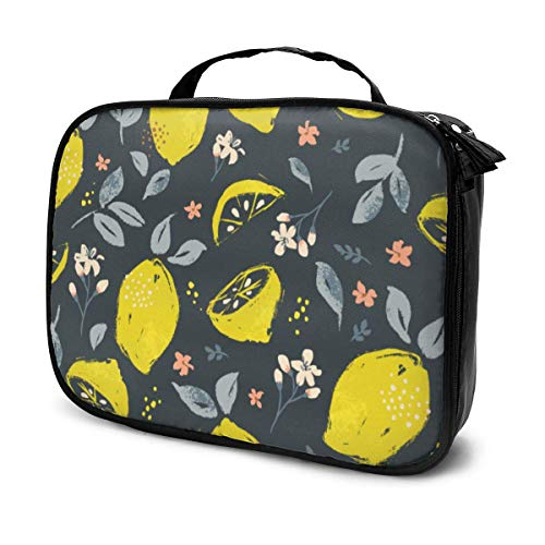 LOKIDVE Lemon Fruit Makeup Bag For Girls Women Girlfriends Travel Cosmetic Case Organizer Box Portable Beauty Toiletry Brush Tote Bags Gifts