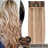 Extension a Clip Cheveux Naturel Maxi Volume Double Weft - Rajout 100% Cheveux Humain 8 Bandes (#18+613 SABLE BLOND méché BLOND CLAIR - 10 Pouces/25cm 110g)