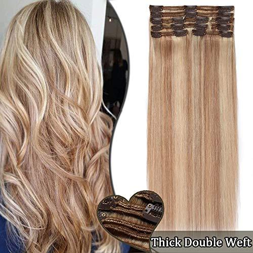 Extension a Clip Cheveux Naturel Maxi Volume Double Weft - Rajout Cheveux Humain 8 Bandes (#18+613 SABLE BLOND méché BLOND CLAIR - 10 Pouces/25cm 110g