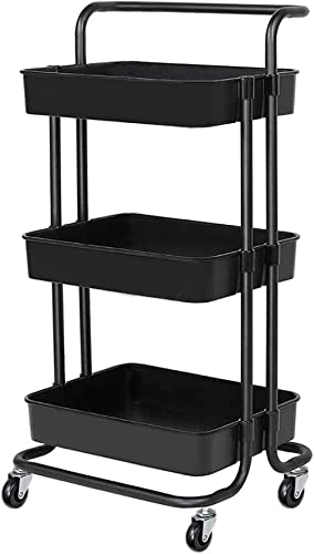 3-Tier Rolling Utility Cart with Handle Makeup Cart with Roller Wheels Mobile Storage Organizer for Kitchen, Bathroom...