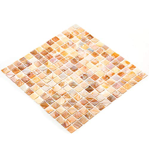VEVOR Baldosas de Mosaico, 12 pcs, 12' x 12', 8 cm de Grosor, Mosaico de Vidrio en Malla de Nácar, Azulejos de Vidrio Mosaico para Sapas, Piscinas, Cocinas, Baños Salpicaduras y Paredes Decorativas