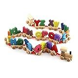 GAESHOW, Tren de Letras de Madera Coloridas de Moda, Juego de Juguete Educativo alfabético
