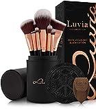 Luvia Prime Vegan Pro - Juego de pinceles de maquillaje, 12 unidades, incluye soporte para brochas, esponja y estera de limpieza para pinceles de maquillaje, en negro y oro rosa