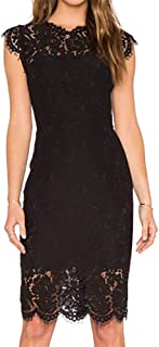 Leomodo Women Summer Sleeveless Solid Color Lace Slim Sexy Dress