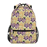 Mochila DISLONLY para Viajes Negocios Escuela Al Aire Libre Deporte Ocio Compras,Románticas orquídeas púrpuras con Flores Silvestres diminutas diseño pincelado puntilístico