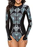 Womens Long Sleeve Rash Guard UV Protection Zipper Floral Printed Surfing One Piece Swimsuit Bathing Suit Black L