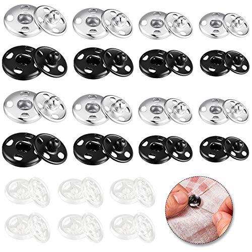 100 Sätze Druckknöpfe Verschluss, 80 Sätze Metall Druckknöpfe Knöpfe und 20 Sätze Klarer Druckknopf, Annähen Druckknöpfe für Kleidung DIY Handwerk 6 mm, 7 mm, 8,5 mm, 12 mm