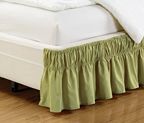 Wrap Around 15' inch Fall SAGE Green Ruffled Elastic Solid Bed Skirt Fits All Queen, King and Cal King Size Bedding High Thread Count Microfiber Dust Ruffle, Soft & Wrinkle Free.