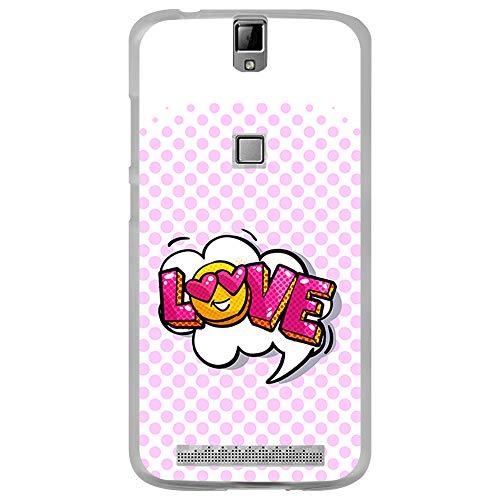 BJJ SHOP Transparent Hülle für [ Elephone P8000 ], Klar Flexible Silikonhülle, Design: Emoticons Liebe mit pink Hintergrund
