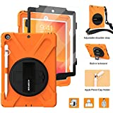 BRAECNstock New iPad 10.2 Case 2019,[Built-in Screen Protector][with Pencil Holder] Heavy Duty Shockproof with Kickstand/Hand Strap Case for iPad 7th Generation 2019 10.2