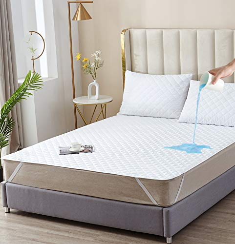 Elif Queen Size Mattress Protector, Waterproof, Quilted Cover Pad with Elastic Band Straps for Kids, Soft&Comfortable, Breathable, Vinyl Free (Queen)