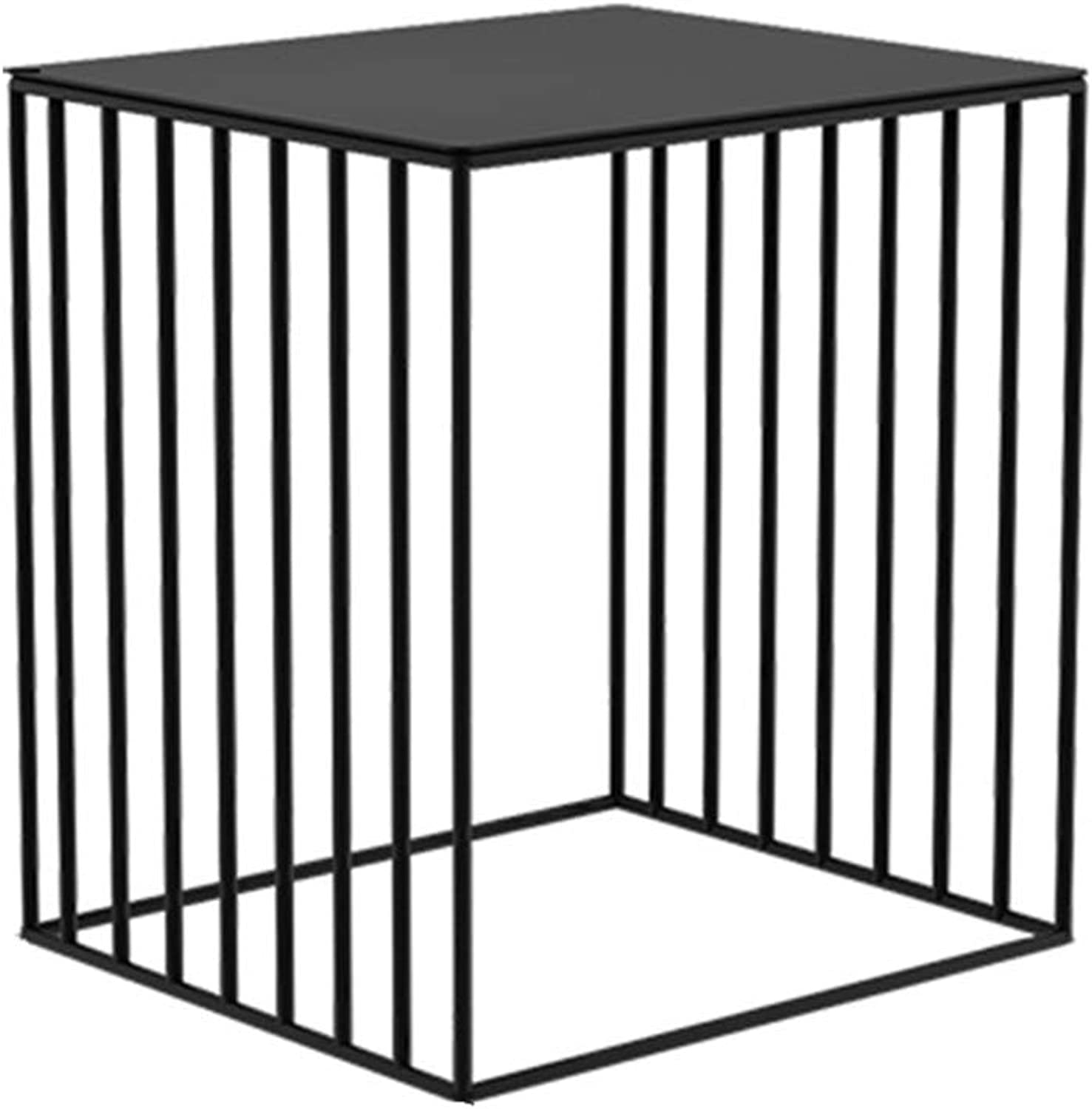NAN Wrought Iron Side table, Tempered Glass Panel, Metal Frame, for Entrance Passage, Living Room, Hallway, TYQ86J Folding Tables (color   Black)