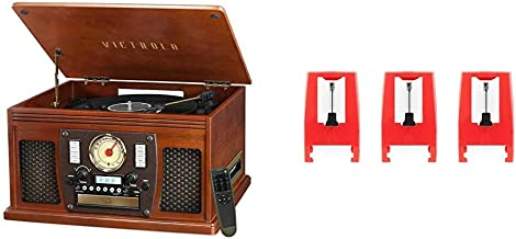 Victrola Navigator 8-in-1 Bluetooth Record Player & Multimedia Center with Built-in Stereo Speakers - 3-Speed Turntable & ITNP-LC1 3 Pack Turntable Replacement Needles for Various Record Players White