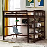 DXW-Y Loft Bed with Desk, Twin Loft Bed with Shelves Bookcase, Wood Kids Loft Bed for Dorm, Boys & Girls Teens Teens, White (Color : Espresso, Size : Full)