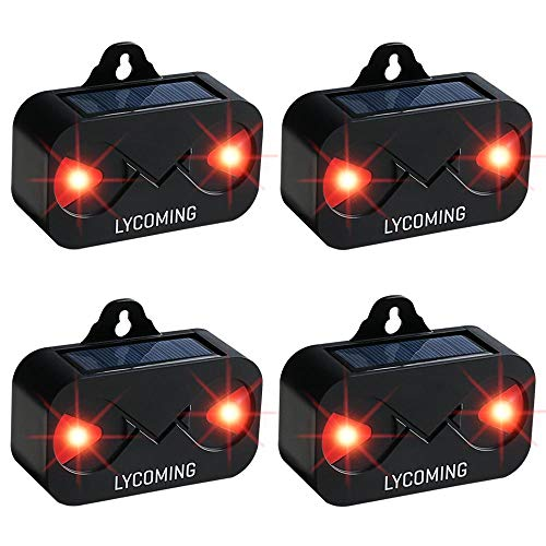 Lycoming Deer Repellent 4 Pack Raccoon Repellent for Nocturnal Animals Solar Predator Control Light Coyote Deterrent Devices with Red LED Strobe Lights Skunk Repellent for Garden