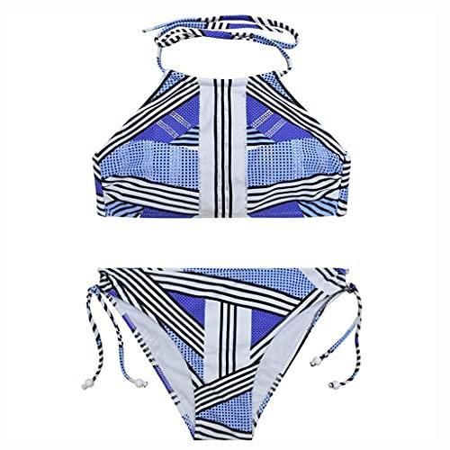 Bikini Set de Bikini para Mujeres Cosido Color Espagueti Correa Traje de baño Dos Piezas Bikini Beachwear Halter Bañándose Trajes de baño Ropa de Playa (Color : Blue, tamaño : Large)