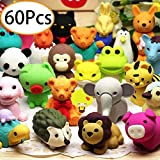 URSKYTOUS 60Pcs Animal Pencil Erasers Bulk Kids Japanese Come Apart Puzzle Eraser Toys for Party Favors, Classroom Prizes, Carnival Gifts and School Supplies(Random Designs)