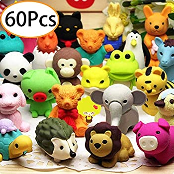 URSKYTOUS 60Pcs Animal Pencil Erasers Bulk Kids Japanese Come Apart Puzzle Eraser Toys for Party Favors Classroom Prizes Carnival Gifts and School Supplies Random Designs
