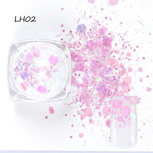 Poudre à ongles,Mixte Coloré Paillettes Nail Glitter Mince Métal Hexagone Étoile Coeur Flocons Nail Art Manucure Décor 1 Bouteille-C