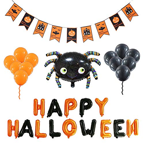 Halloween Balloons Banner Kit Happy Halloween Decoration Party [Include Halloween Banner/Star, Bat Balloons]