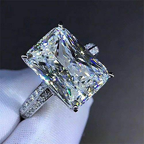Fashion Zircon Ring 925 Sterling Silver CZ Ring Princess Cut Square Simulated 3 Carat Diamond Ring Shiny Full Diamond Two Row Dazzling Engagement Wedding Ring Promise Ring for Women (6)