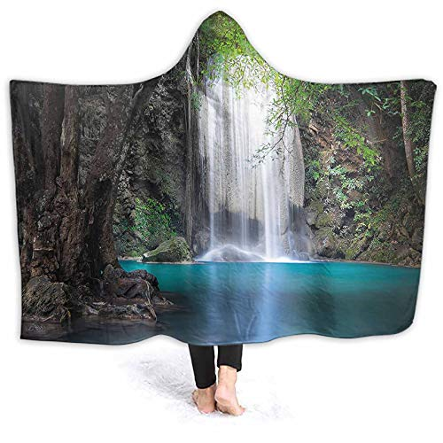Cozy Throw Deep Down in Rain Idyllic Image Turquoise Brown Fern Green Blanket Poncho Thingy for Outdoor Camping, Picnic, Sports, Concerts, Stadium, Travel, Car 50 x 40 Inch