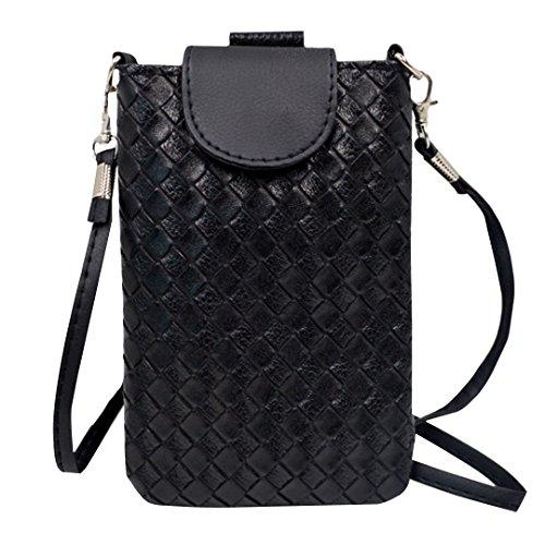 ABBY Tissage spécial de la mode coréenne mini riche téléphone sac à bandoulière sac à main en diagonale Noir