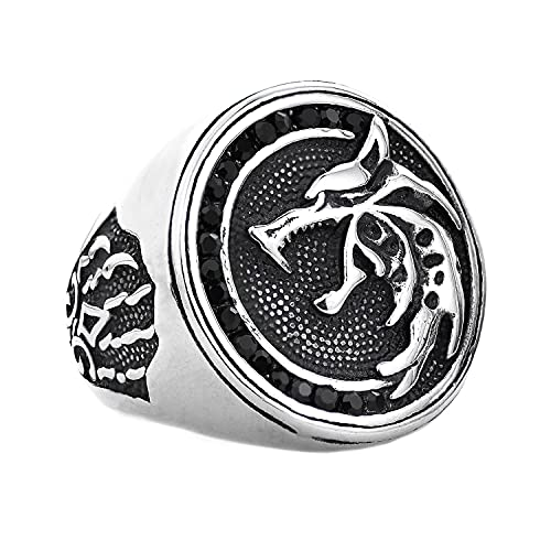 Stainless Steel Wolf Head Ring Wizard Nordic Retro Hunter Cool Bands Jewelry for Men 9