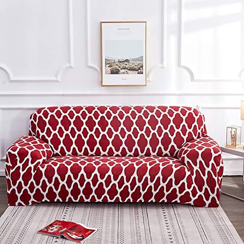 QSCV Elasticidad Tela Funda Sofá para 3 Plazas,Retro Impreso En Forma De L Protector De Muebles,Lavabile Cuero Chaise Longue Funda Sofa Ajustables-Rojo 1 3 seaters 190~230cm(75~91inch)