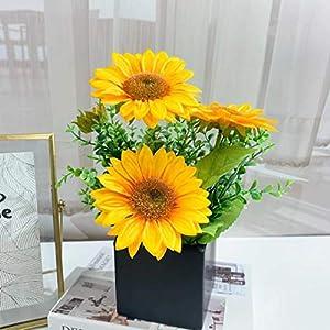 FTPRO Artificial Flowers Fake Plants with Vase,Silk Sunflower Eucalyptus Leaves Faux Plants for Desk Home Decor,Wedding Decorations Floral Table Centerpieces (Yellow)