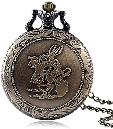 FHISD Reloj de Bolsillo Reloj de Bolsillo clásico de Cuarzo de Bronce para Hombres, Relojes de Bolsillo de Cadena Delgada de aleación Superior para niños, Elegante Reloj con Colgante de Esfera