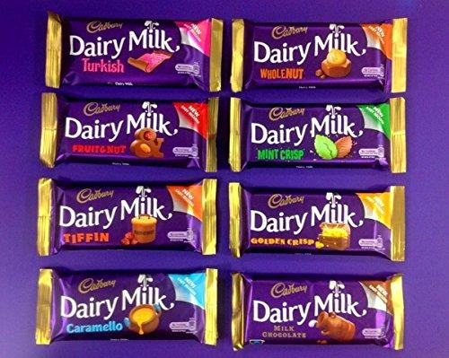 Irish Cadbury Dairy Milk Chocolate 8 Pack - Dairy Milk, Tiffin, Turkish Delight, Mint Crisp ,Golden Crisp, Fruit & Nut, Wholenut Bar and Caramello from Ireland