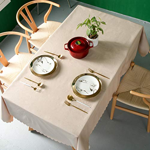 Pahajim Moderno Mantel de PVC Color Liso Mantel Impermeable Mantel Mesa Rectangular Antimanchas Tablecloths para (Marrón, Rectangular/Oval,140x180cm,4-6 Asientos)