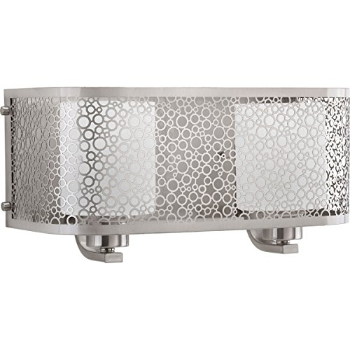 Progress Lighting P2162-09 Contemporary Modern Two Light Bath from Mingle Collection in Pwt, Nckl, B/S, Slvr. Finish, Brushed Nickel