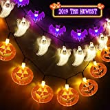 Set of 3 Halloween String Lights,60 LED Battert Operated String Lights Pumpkin/Ghgost/Bat -Perfect for Halloween Outdoor Yard Party Decorations
