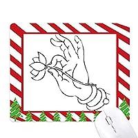 仏教の手のロータス線描画パターン ゴムクリスマスキャンディマウスパッド