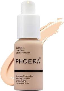 Matte Oil Control Concealer Foundation Cream,PHOERA New 30ml Long Lasting Waterproof Matte Liquid Foundation (102 Nude)