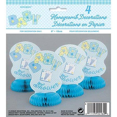 Adornos de panal de abeja para baby shower (4 unidades), color azul